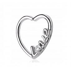 Кульчик серце для пірсингу вуха з візерунком love