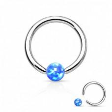 Кольцо титановое с шариком из синего опала