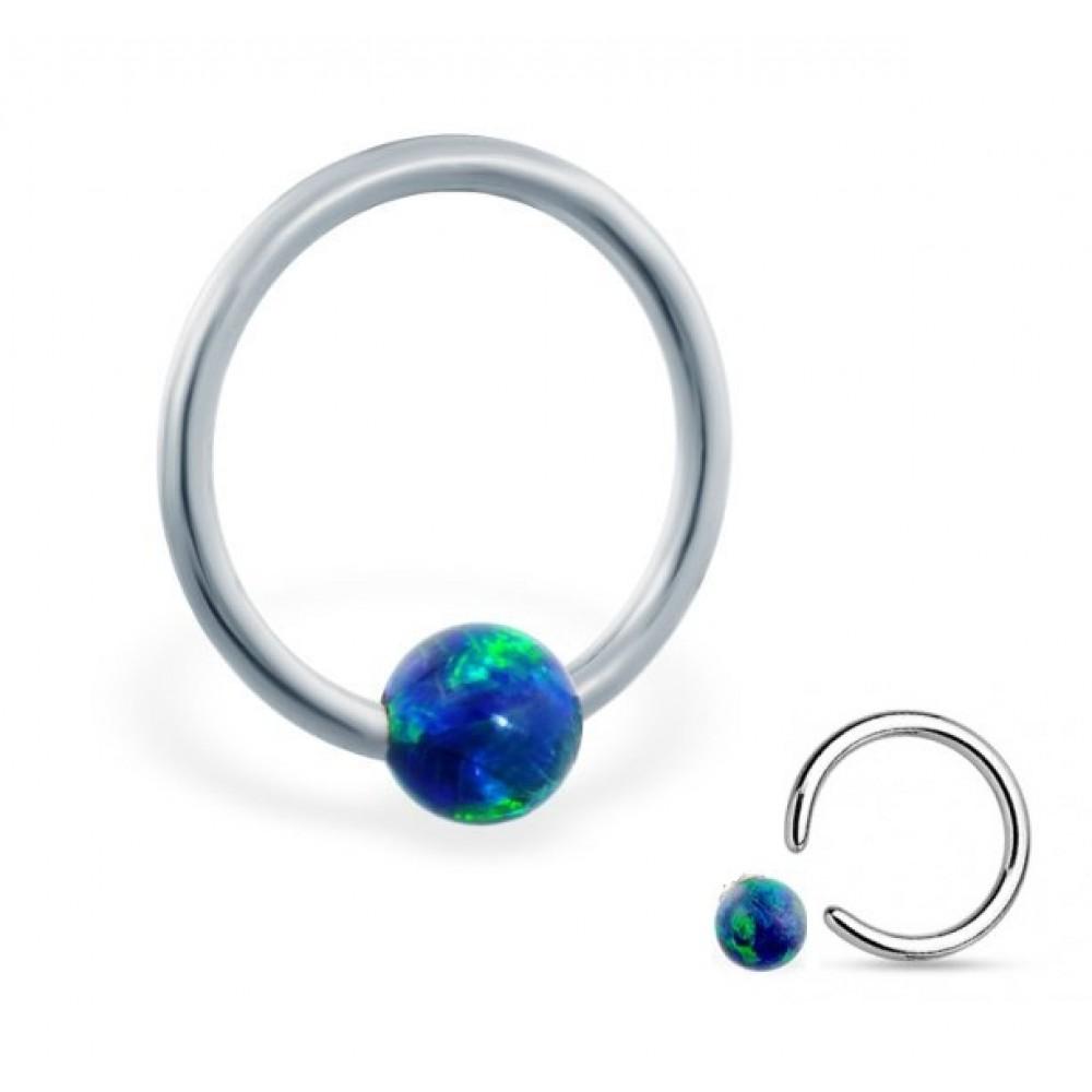 Кольцо хард титановое с шариком из изумрудного опала
