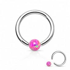Кольцо титановое с шариком из розового опала