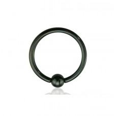 Пирсинг кольцо черное стальное с шариком