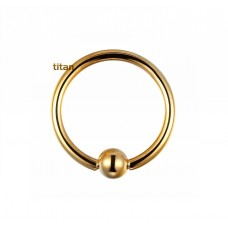 Кольцо для пирсинга титановое позолоченное с шариком