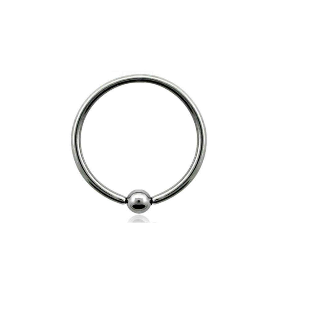 Пирсинг кольцо с зажатым шариком титановое